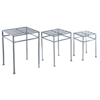 Lot de 3 sellettes gigognes en métal gris