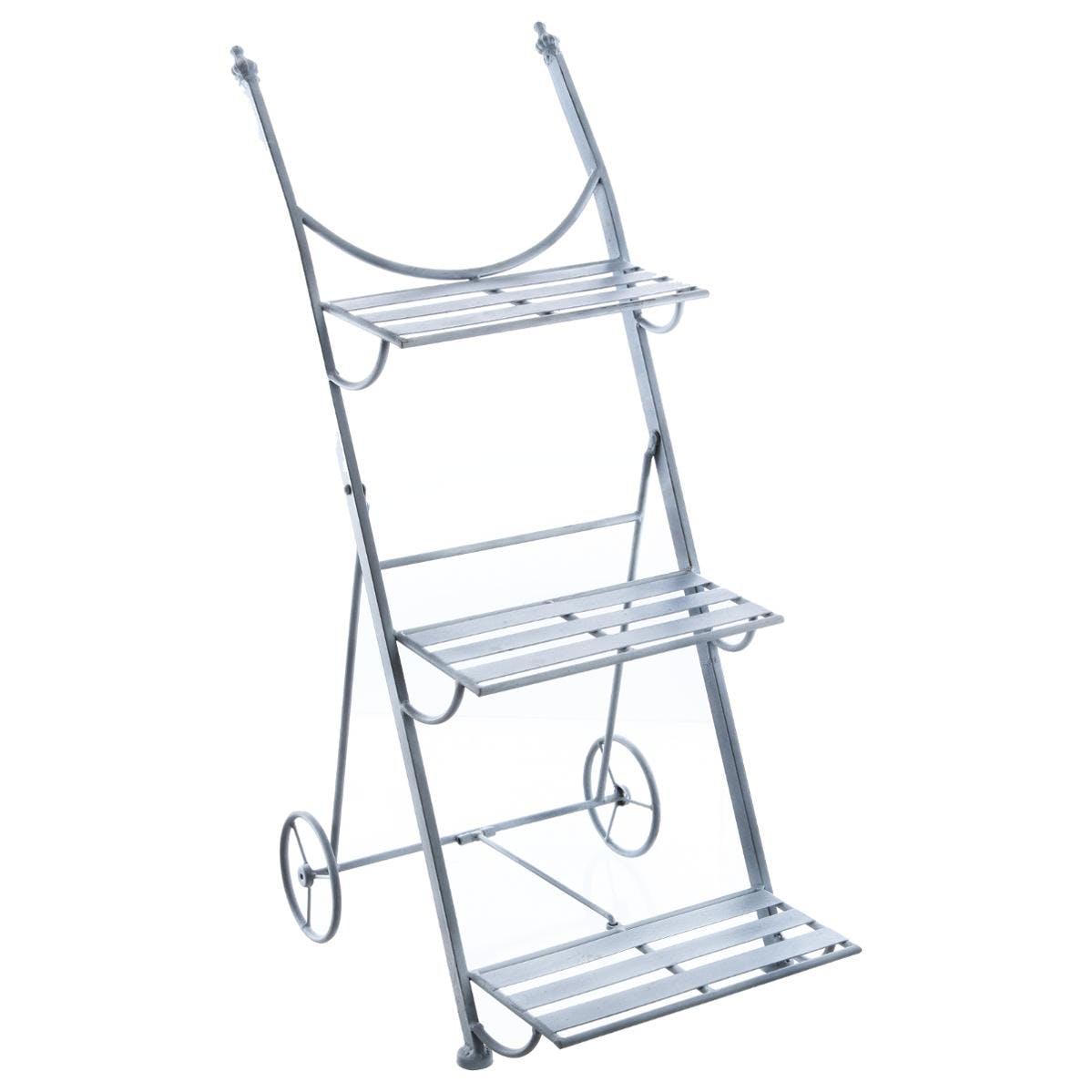 Etagère escalier 3 etages à roulettes en métal gris 37x58x83cm