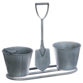 Cache-pot double décor oiseau et pelle de jardin en métal gris D13xL33cm