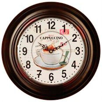 Horloge en métal foncé motif Capuccino et chiffres D32cm