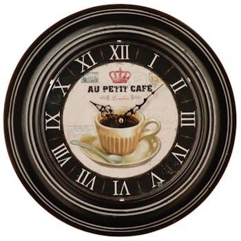 Horloge en métal foncé motif Tasse à café et chiffres romains D32cm
