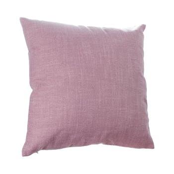 Coussin uni en tissu couleur vieux rose déhoussable 40x40cm