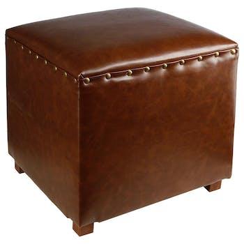 Pouf cube clouté Vintage marron 38x38x38cm
