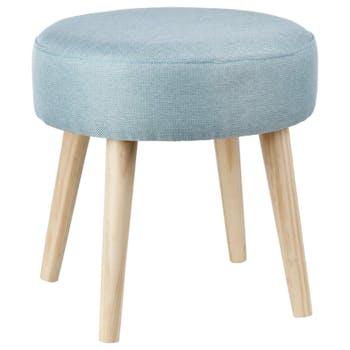 Tabouret scandinave bleu tissu bois