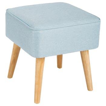 Tabouret pouf carré esprit Scandinave en tissu bleu clair et pieds bois 40x40x40cm