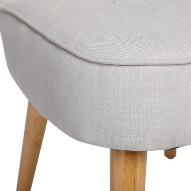 Fauteuil esprit Scandinave en tissu gris clair et pieds bois 51x58x76cm