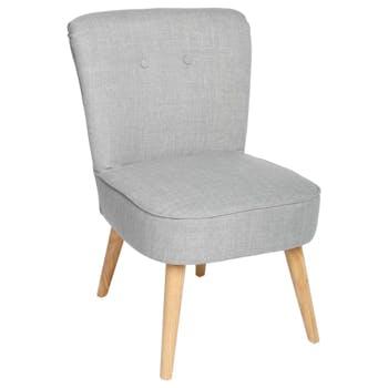 Fauteuil esprit Scandinave en tissu gris et pieds bois 51x58x76cm