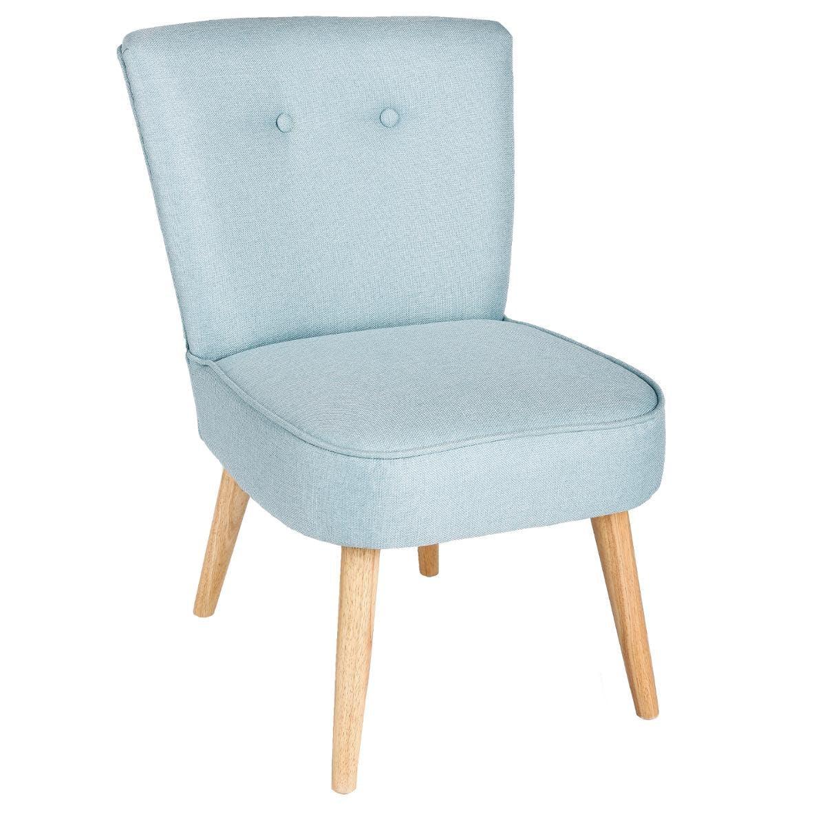 Fauteuil esprit Scandinave en tissu bleu clair et pieds bois 51x58x76cm