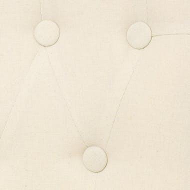Fauteuil Crapaud capitonné en tissu couleur beige et pieds bois 56x61xH73cm
