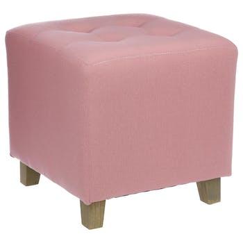 Pouf carré capitonné en tissu couleur vieux rose et pieds bois 35x35x35cm