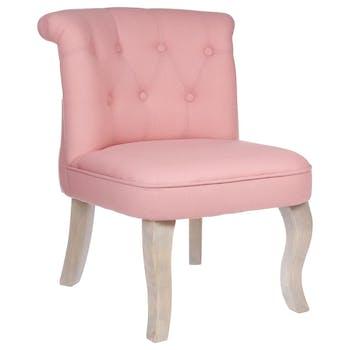 Fauteuil Crapaud dossier capitonné en tissu couleur vieux rose et pieds bois gablés 50X56X63cm