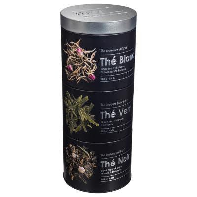 Boite à thé ronde compartimentée 3 étages métal en relief D11xH26cm