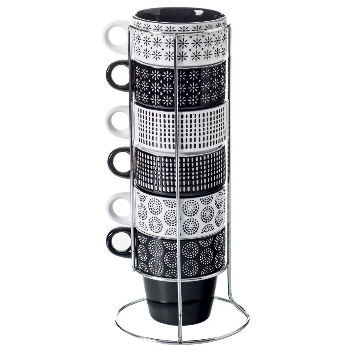 Rack de 6 tasses à anse esprit Ethnique en faience noire et blanche 13,8x13,8xH29,5cm