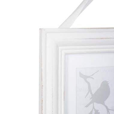 Cadre Pêle-Mêle 2 vues en bois blanc aspect vieilli et ruban 24,5x31cm