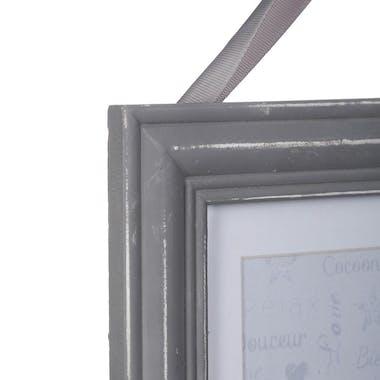 Cadre Pêle-Mêle 2 vues en bois gris aspect vieilli et ruban 24,5x31cm