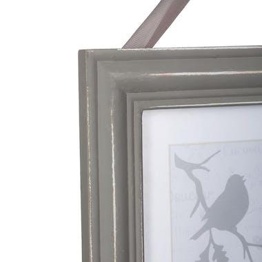 Cadre Pêle-Mêle 2 vues en bois couleur taupe aspect vieilli et ruban 24,5x31cm