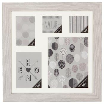 Cadre Pêle-Mêle 5 vues en bois blanc grisé 46,4x46,4cm