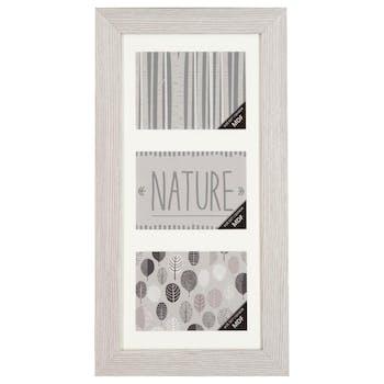 Cadre Pêle-Mêle 3 vues en bois blanc grisé 29,4x56,4cm