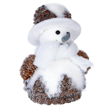 Bonhomme de neige à chapeau H17cm