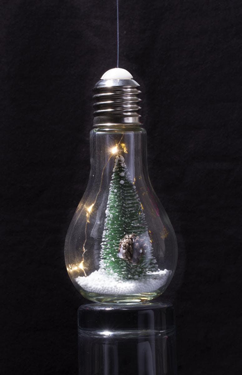 Ampoule décorative à suspendre décor sapin H18cm
