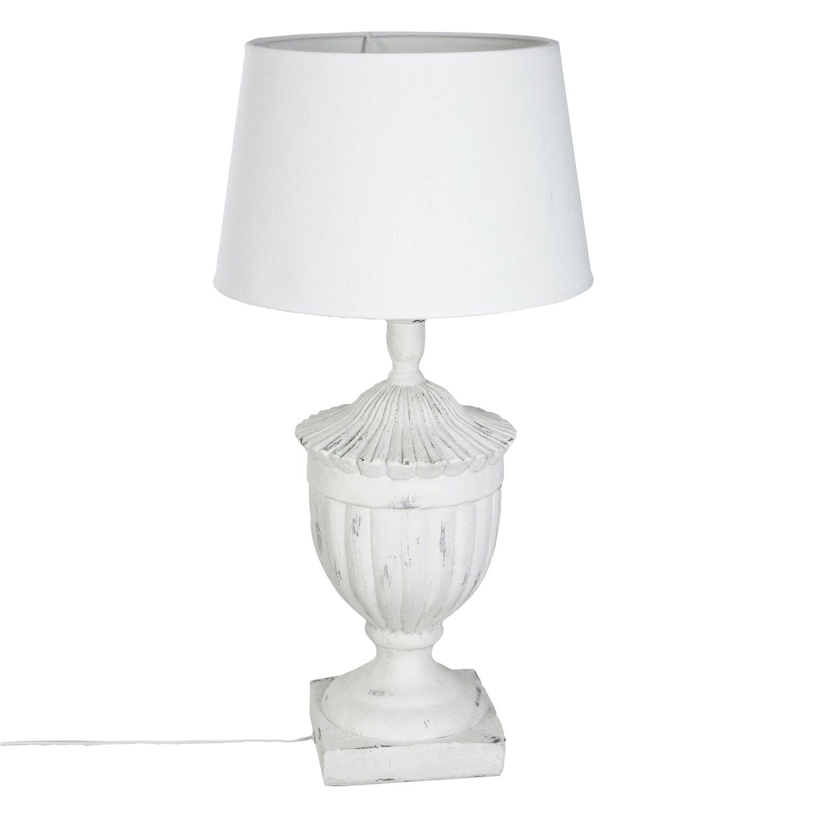 Lampe en résine blanche effet vieilli et abat-jour blanc H58cm