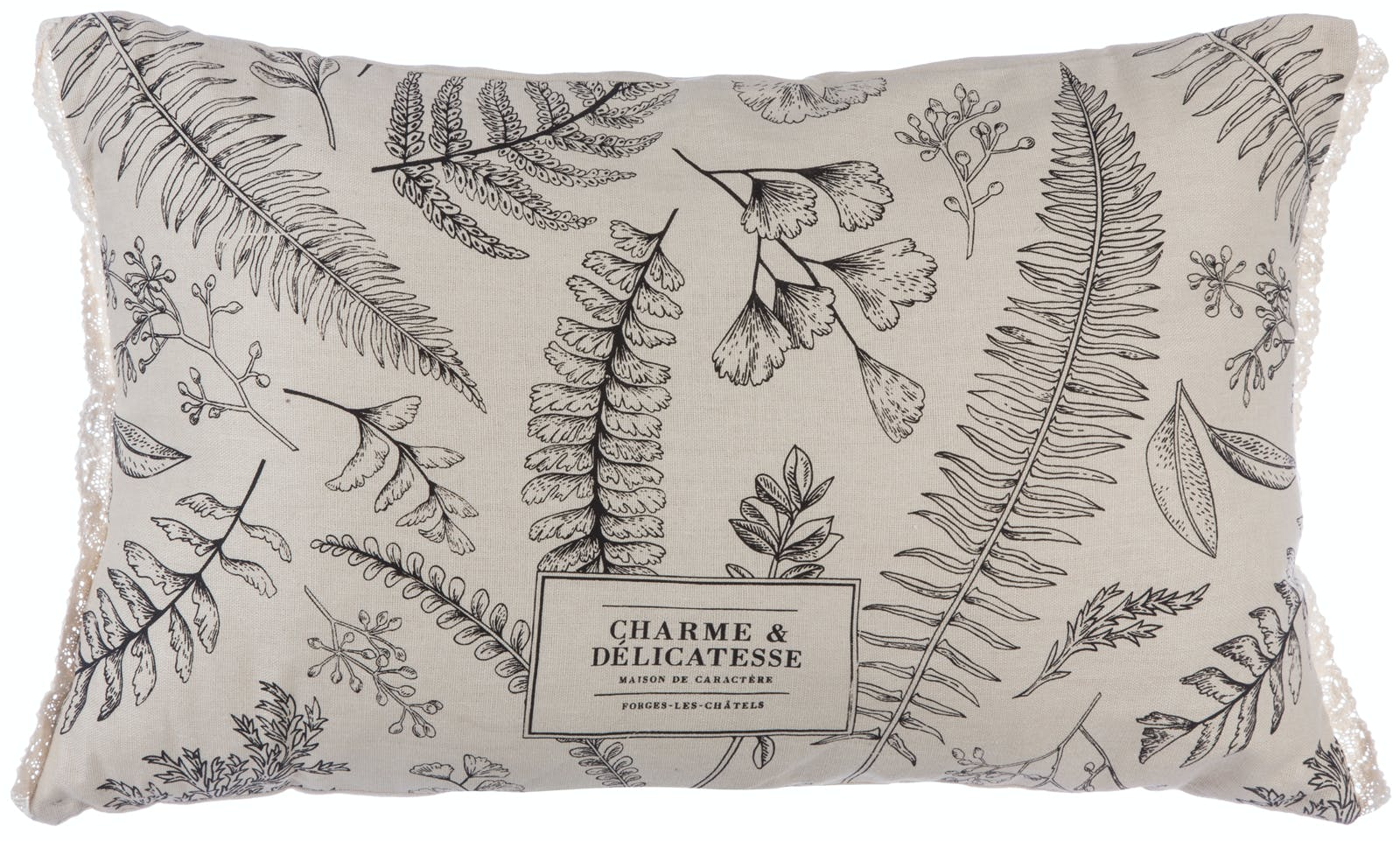 Coussin rectangulaire couleur lin imprimé feuilles 30x50cm