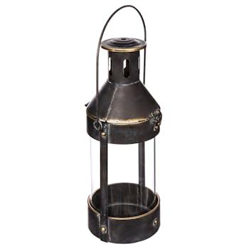Lanterne mineur en métal noir vieilli et verre D15xH37cm