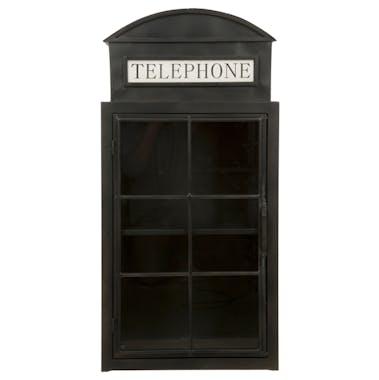 Etagère vitrine en métal noir en forme de cabine téléphonique 48x35x96cm