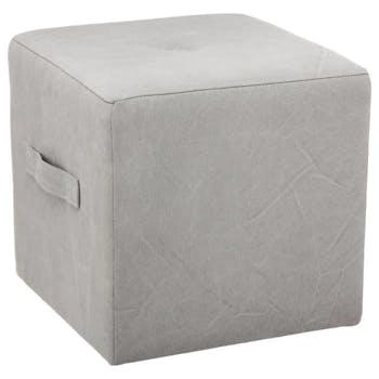 Pouf cube capitonné à poignée tissu gris clair 38x38xH38cm