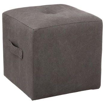 Pouf cube capitonné à poignée tissu gris fonçé 38x38xH38cm