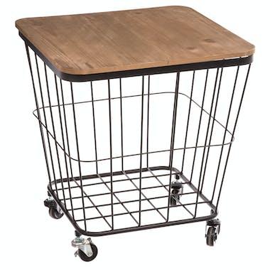 Table d'appoint coffre à roulettes en métal grillage et plateau bois amovible 39x39x43cm ATELIER