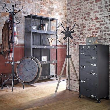 Meuble de rangement industriel métal noir vieilli roulettes ATELIER