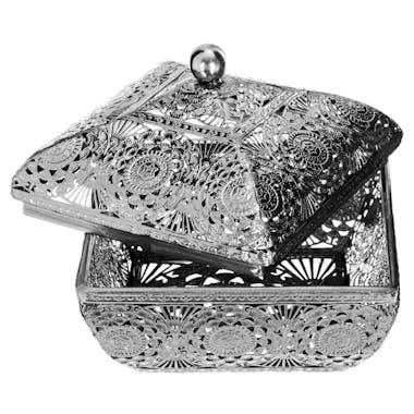 Boîte carrée en métal argenté ajouré motifs Orient 12x12x9cm