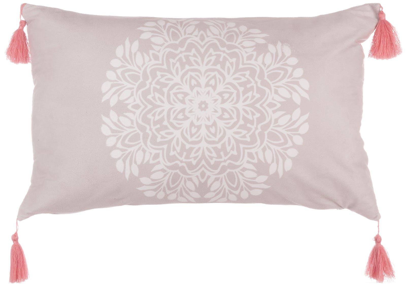 Coussin rectangulaire lin rosace centrale blanche pompons corail 30x50cm