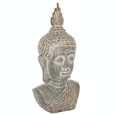 Tête de Bouddha en résine effet pierre vieillie dorée H61cm