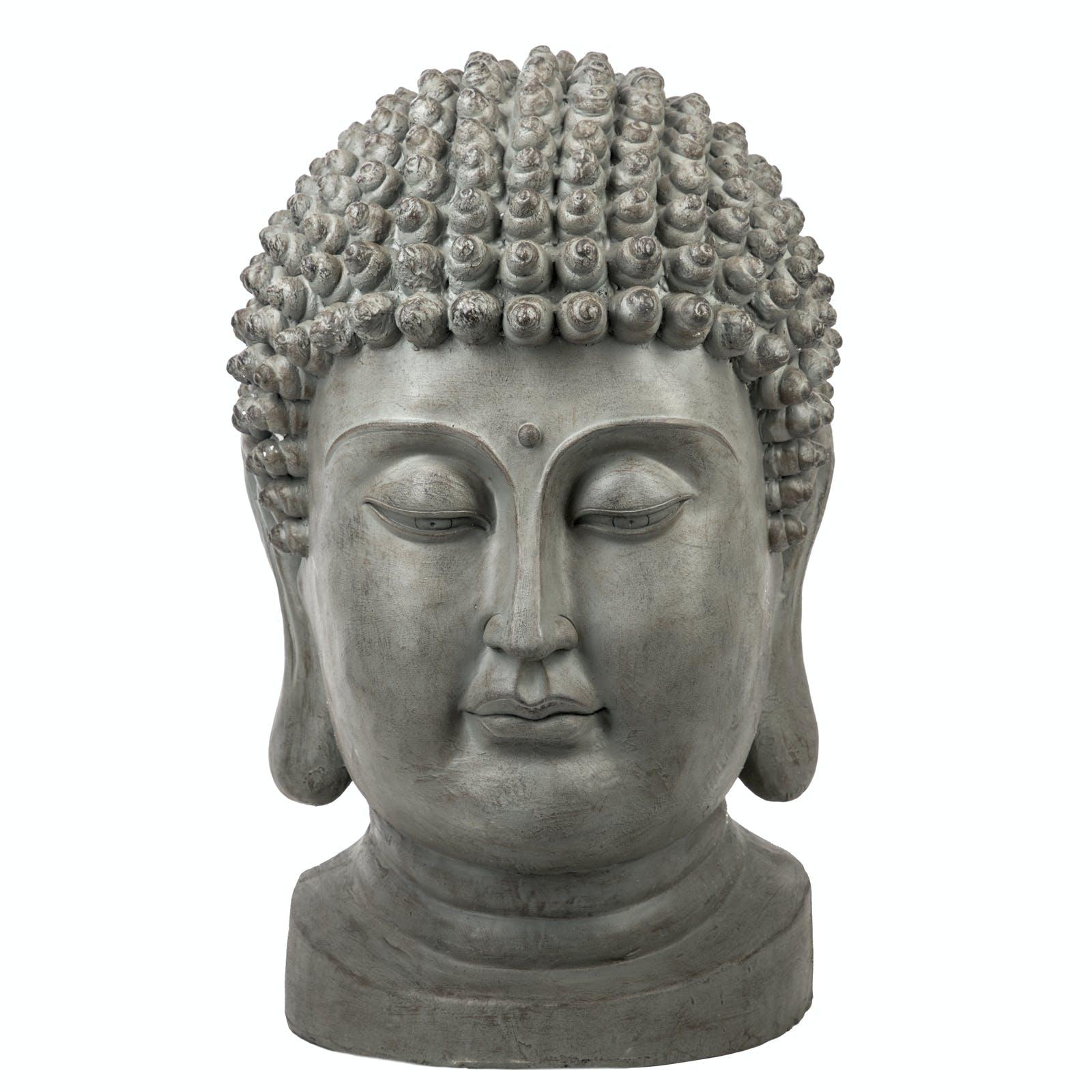 Tête de Bouddha en résine grise H82cm
