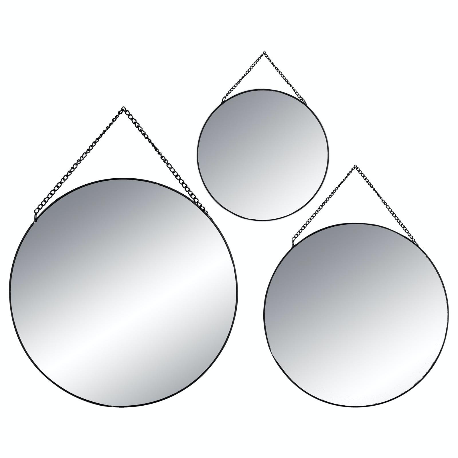 Lot de 3 miroirs rond cerclés métal noir de différentes tailles D29cm