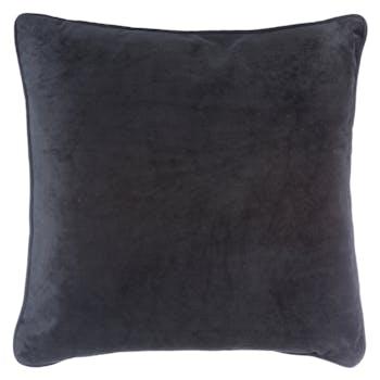 Coussin carré uni en velours coloris noir passepoil 40x40cm