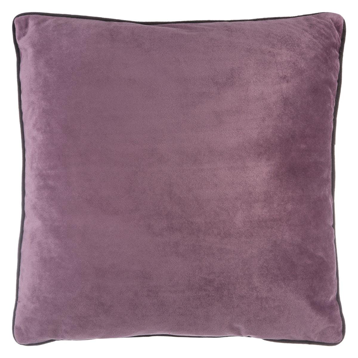 Coussin carré uni en velours coloris prune passepoil noir 40x40cm