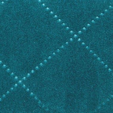Tabouret Pouf rond esprit Scandinave en velours à carreaux bleu vert D35xH40cm