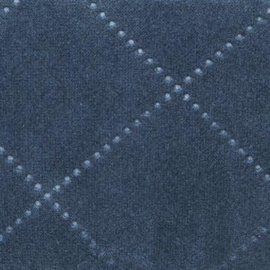 Tabouret Pouf rond esprit Scandinave en velours à carreaux bleu nuit D35xH40cm