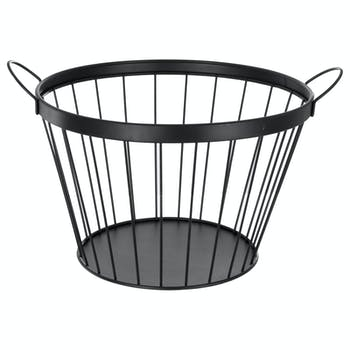 Panier moderne en métal et étain fil noir avec anses 42x29x35cm