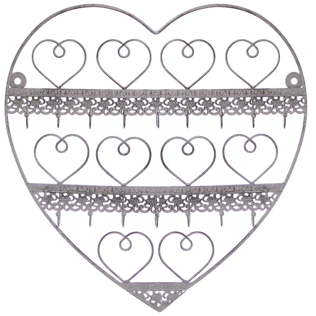 Porte bijoux mural c?ur romantique en fer gris effet vieilli 30x12x30cm