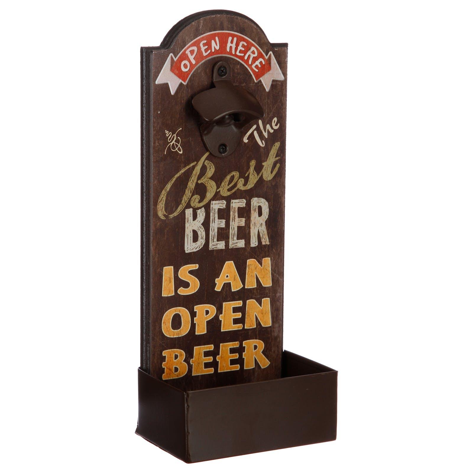 """Décapsuleur à poser avec réceptacle 36x14cm - """"Best beer"""" fonçé"""