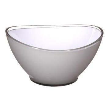 Saladier ovale en plastique gris clair blanc D13cm