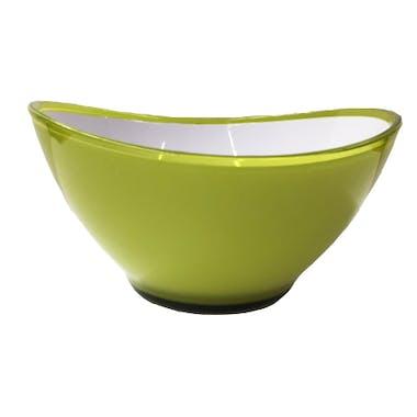 Saladier ovale en plastique vert pomme blanc D13cm