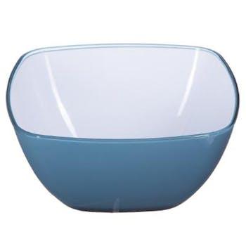 Saladier carré arrondi en plastique bleu orage blanc 14x14cm