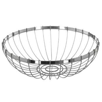 Corbeille ronde moderne en métal gris façon fil D30xH10cm
