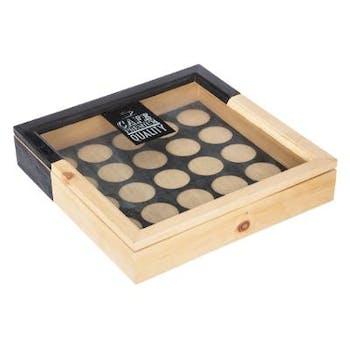Boite porte 16 capsules en bois naturel et noir couvercle verre 25x25xH5cm
