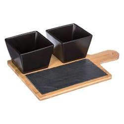 Set apéritif 4 pièces 2 coupelles en grès 1 planche en bois et ardoise 30x20cm